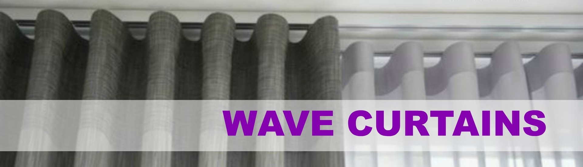 Wave curtain also known as Ripple curtain in a grey fabrc